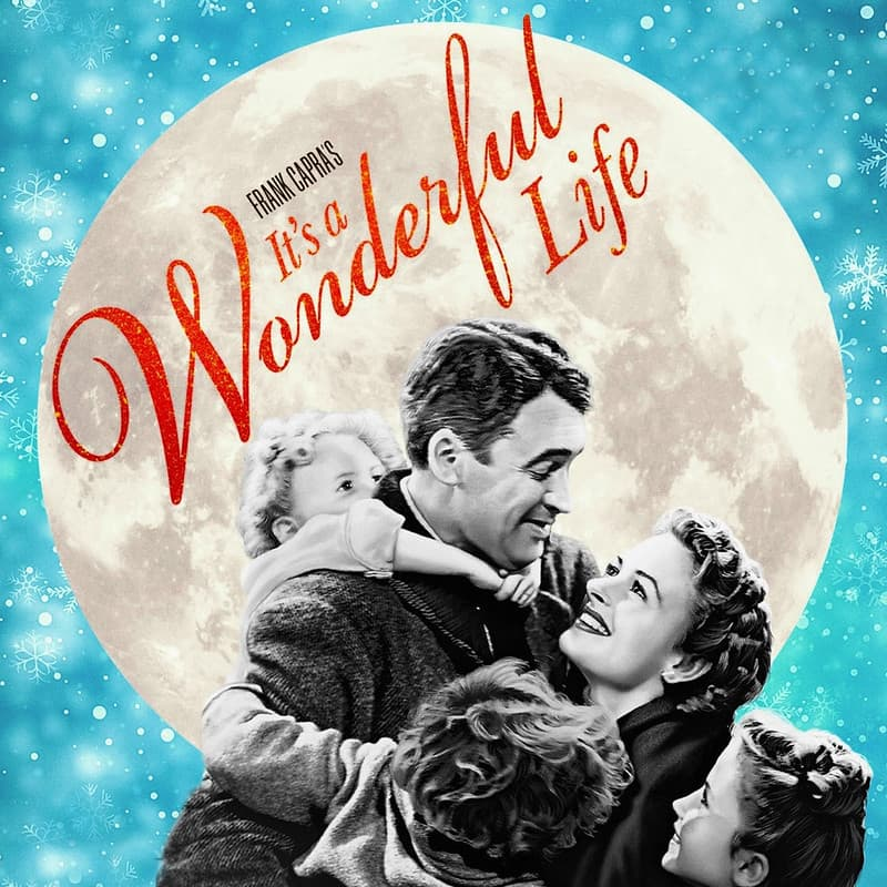 James Stewart and Donna Reed hugging in the promotional poster of It's a Wonderful Life.