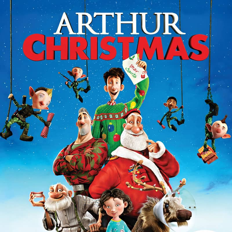 The animated characters of the film Arthur Christmas on the promotional poster.