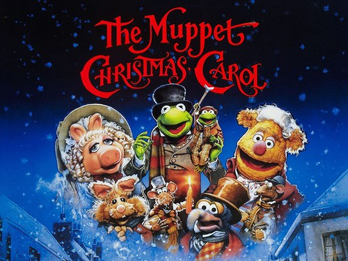 The Muppets on the promotional poster of the film The Muppets Christmas Carol.