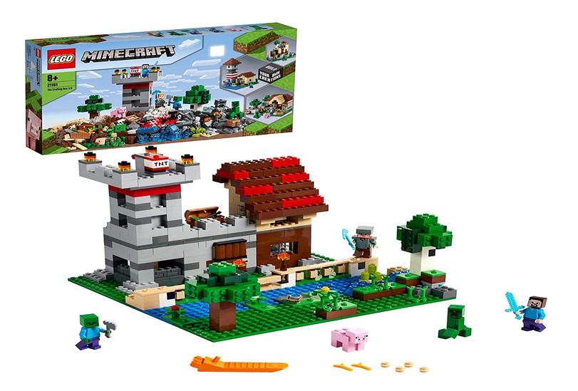 Set of lego Minecraft for rebuilding castle, farm and imaginative design.