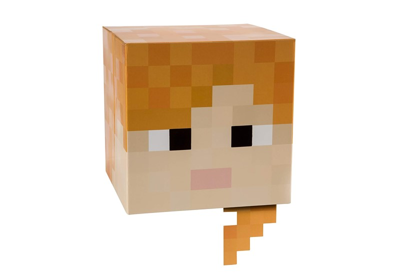 Authentic gear of Minecraft cardboard head with adjustable feature perfect for cosplays and roleplaying.