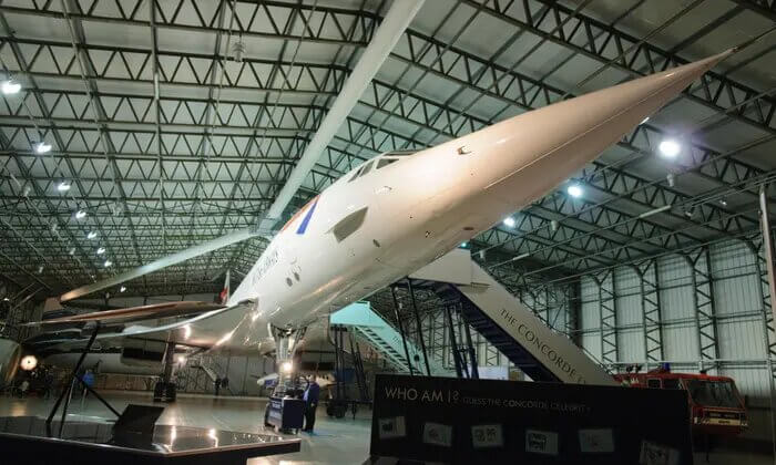 The dipped nose of the famous Concorde on display at the National Museum of Flight.