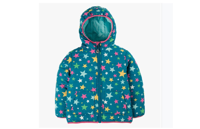 Reversible waterproof blue jacket with colorful stars design.