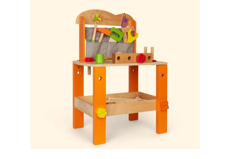 Durable wooden bench for the tool toys.