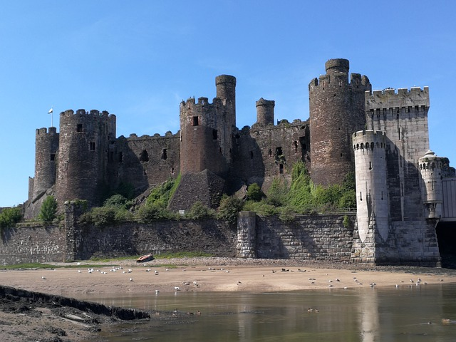 The walled market town and community of Conwy in Conwy County Borough on the north coast of Wales.