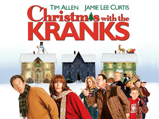 A couple being followed by a group of people in a Christmas setting on the promotional poster for Christmas with the Kranks.