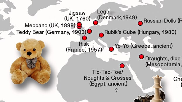 Kidadl have mapped out the origins of your favourite toys.