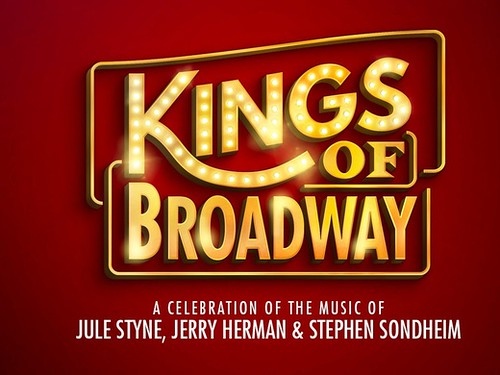 Gold lettering and a red background in the promotional poster for the Kings of Broadway show.