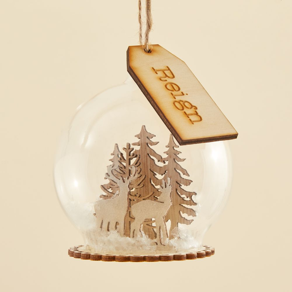 My 1st Years Personalised Glass Bauble With Wooden Reindeer Scene
