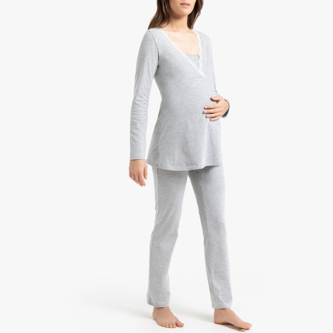 Cotton Mix Maternity/Nursing Pyjama, La Redoute.