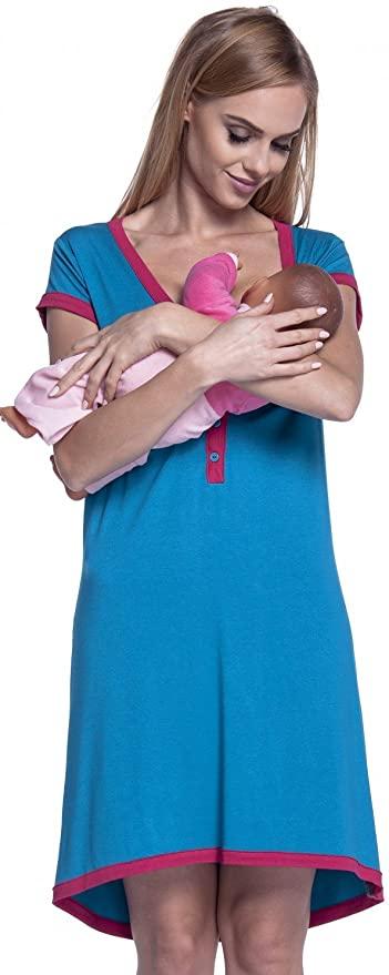 Women's Maternity Nursing Breastfeeding Nightdress Shirt Gown.