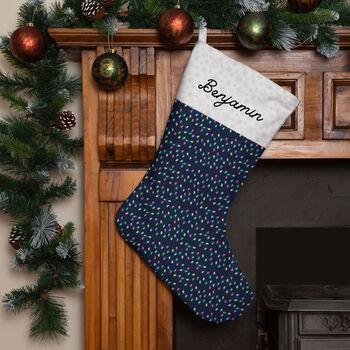 MBT Studio Personalised Christmas Stocking 'Fairy Lights'.
