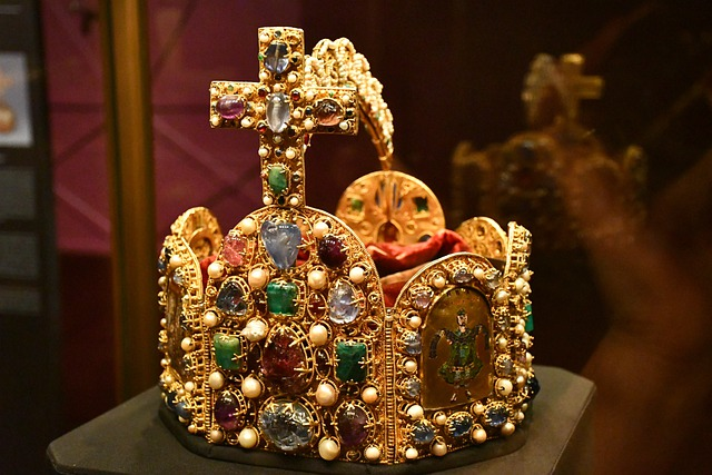 A king's magnificent gem-studded crown.