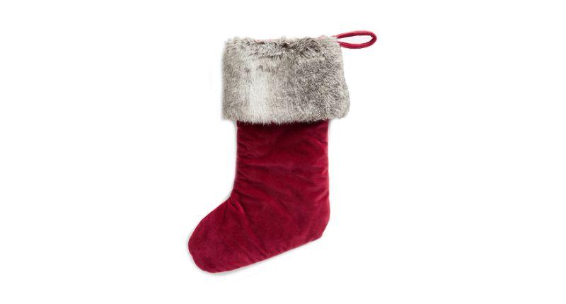 John Lewis & Partners Velvet Stocking With Faux Fur Trim.