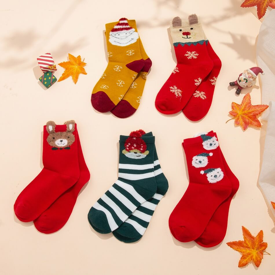 PatPat 5-Pack Toddler/Kid Christmas Middle Socks