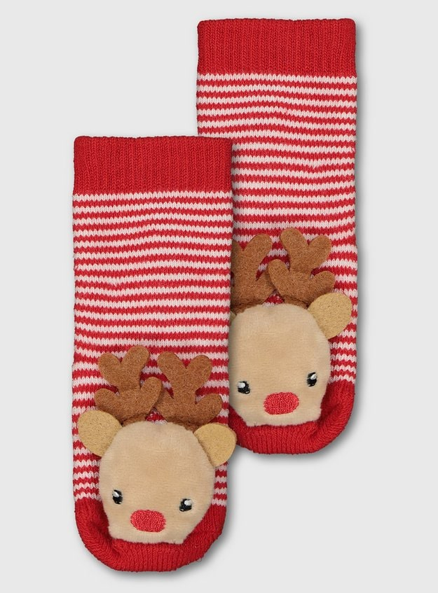 Sainsburys Red Stripe Reindeer Rattle Socks