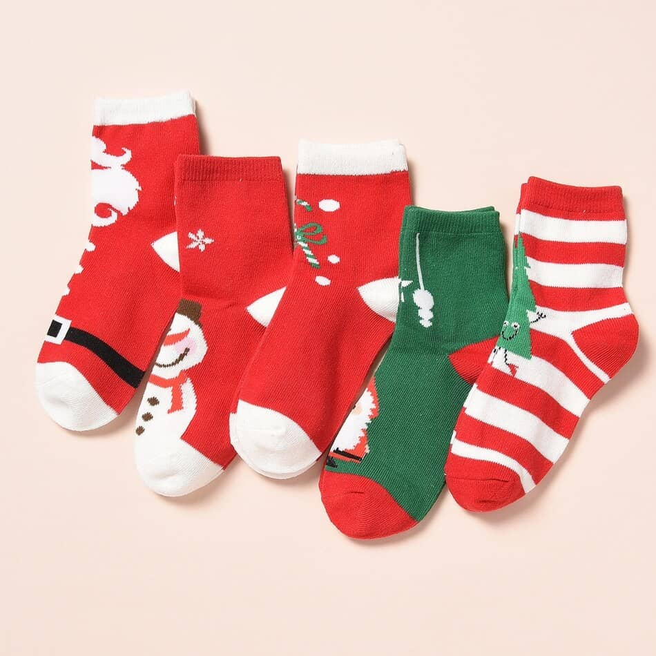 PatPat 5-Pack Kid Christmas Knitted Adorable Middle Socks