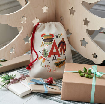 Bombus Personalised Vintage Alphabet Christmas Eve Bag.