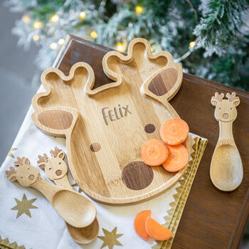 Personalised Reindeer Bamboo Christmas Plate Set