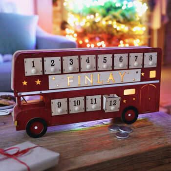 Personalised Vintage Wooden LED Bus Advent Calendar.