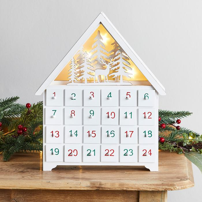Lights4Fun Winter Cabin Wooden Advent Calendar.
