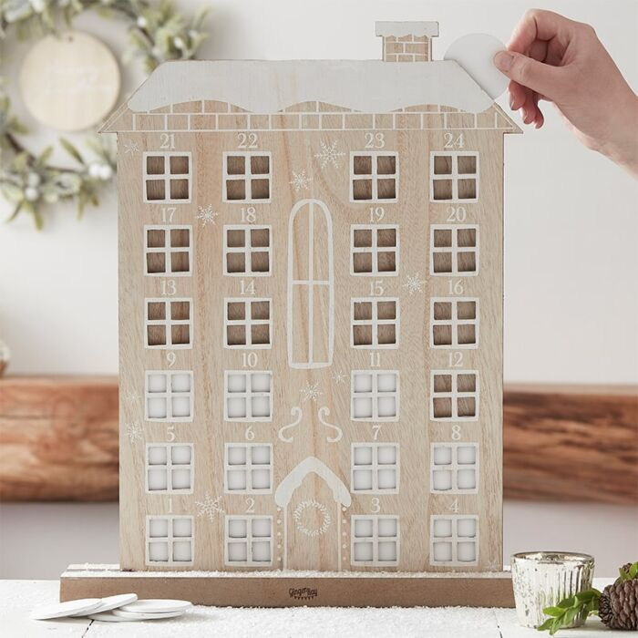 Ginger Ray Reusable Wooden Advent Calendar House.
