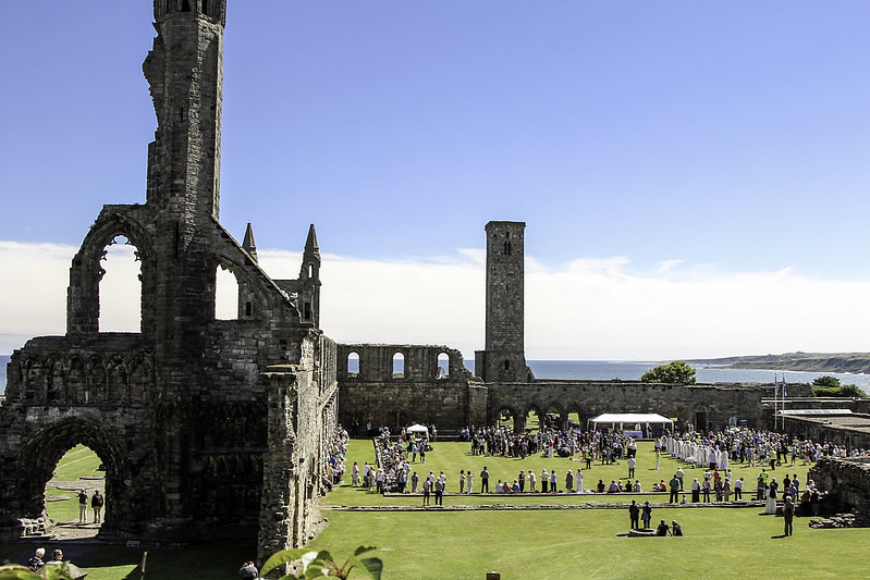 Mass gathering at the ruins at St Andrews Cathedral.