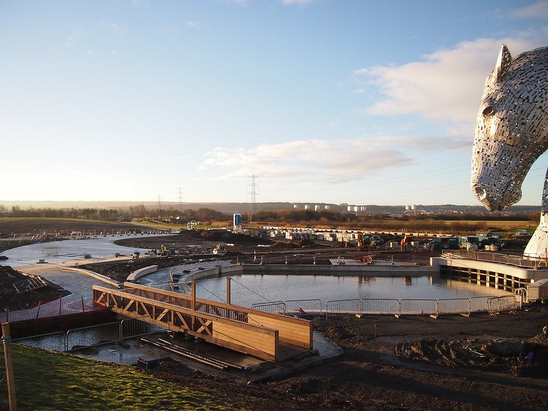 The area overlooking The Kelpies (and The Helix).