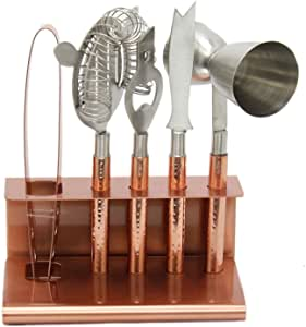 Hammered Copper Metal Bar Tool Set And Stand - Carousel Home and Gifts