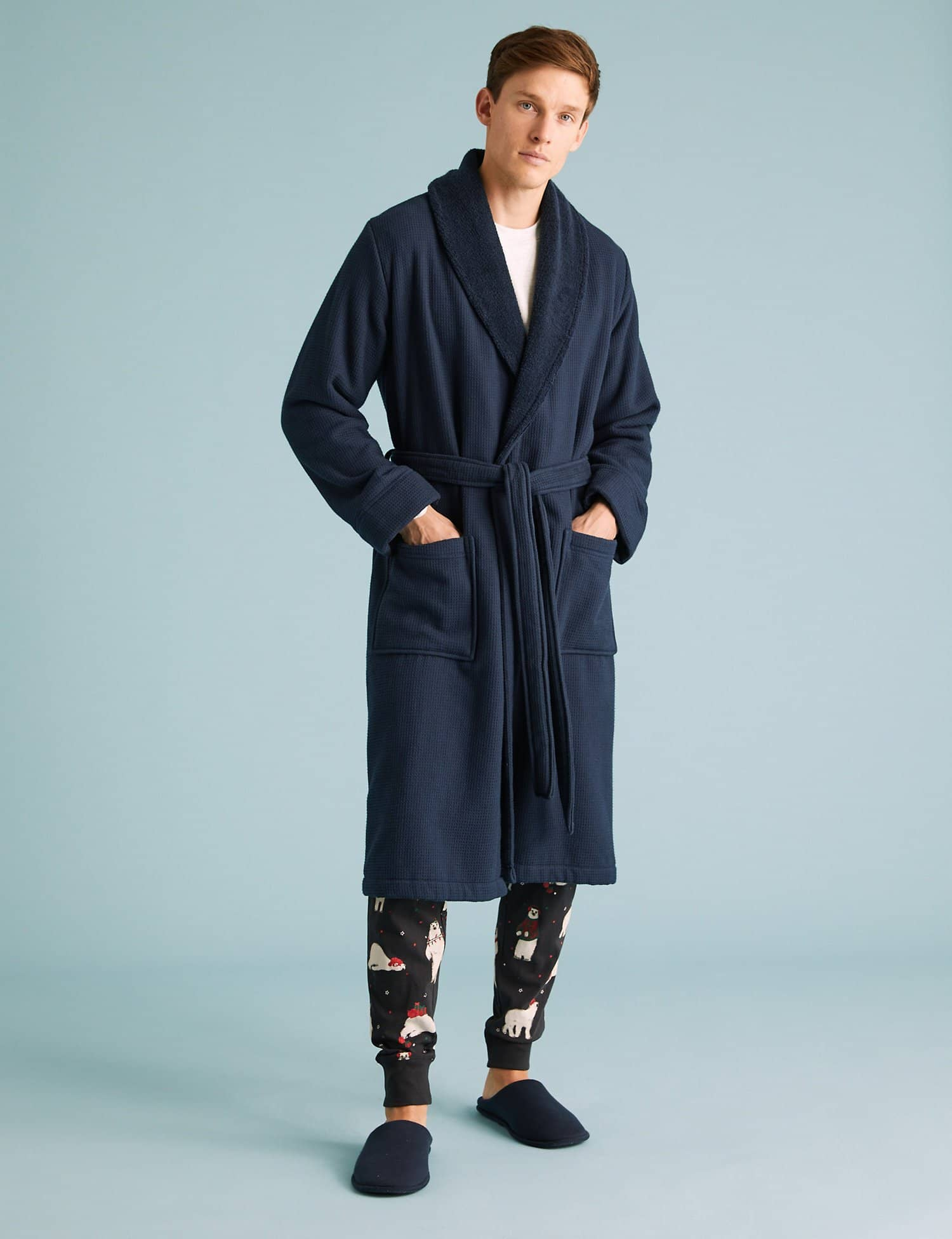 Pure Cotton Waffle Dressing Gown - M&S
