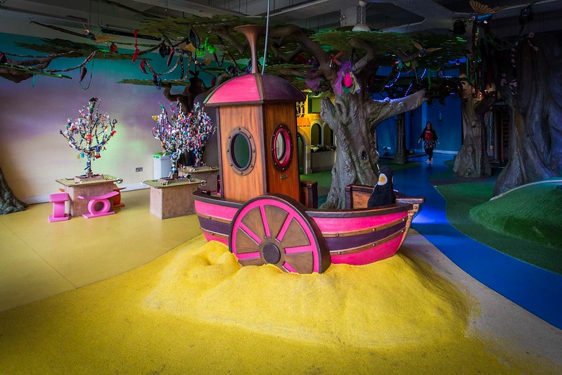 The inside beach themed play area at Discover Children's Story Centre.