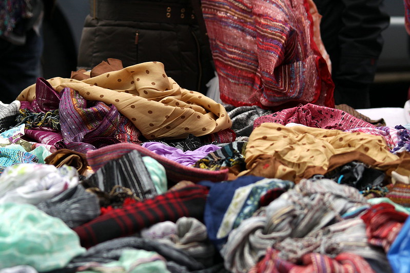 A collection of fabrics at Portobello Road Market.