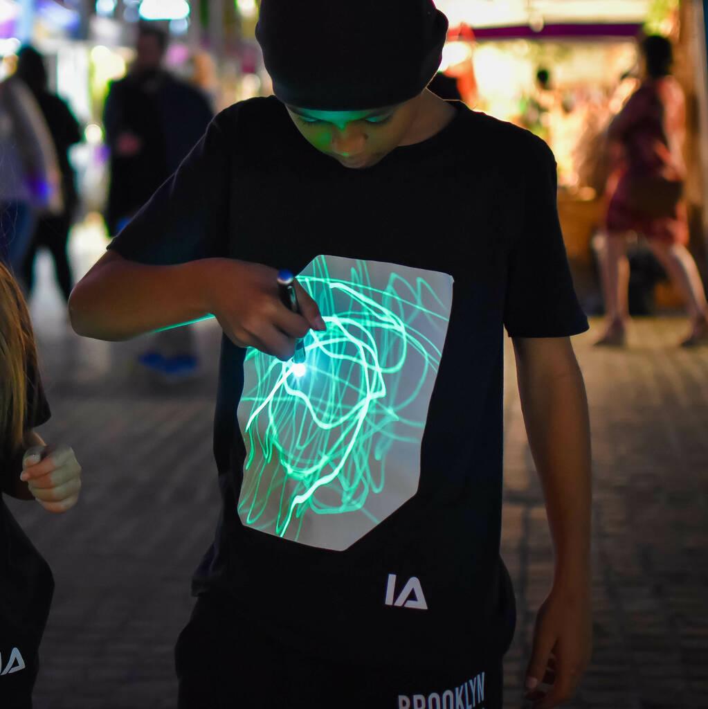 Interactive Green Glow T-shirt in Black - Illuminated Apparel