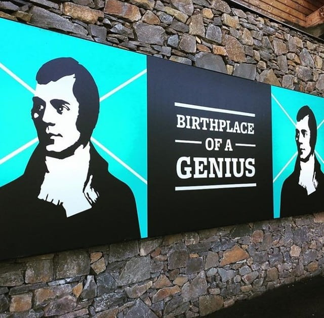 A Robert Burns image on the entrance to the Robert Burns Birthplace Museum.