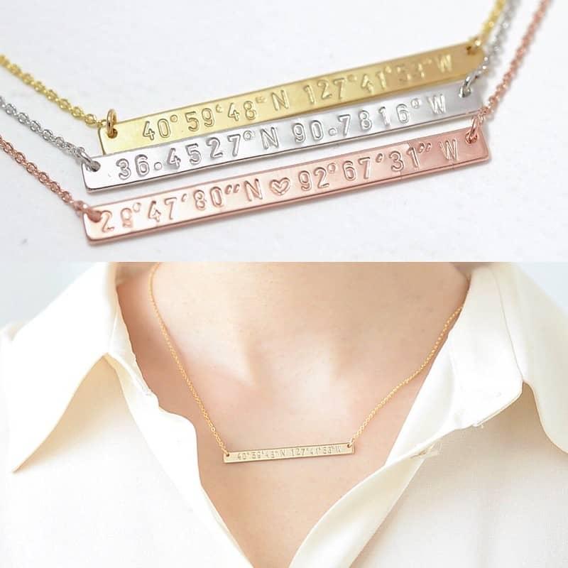 Custom Coordinates Necklace - Moru Studio