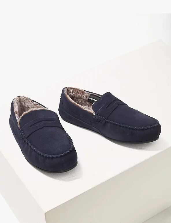Suede Slippers with Freshfeet™ - M&S