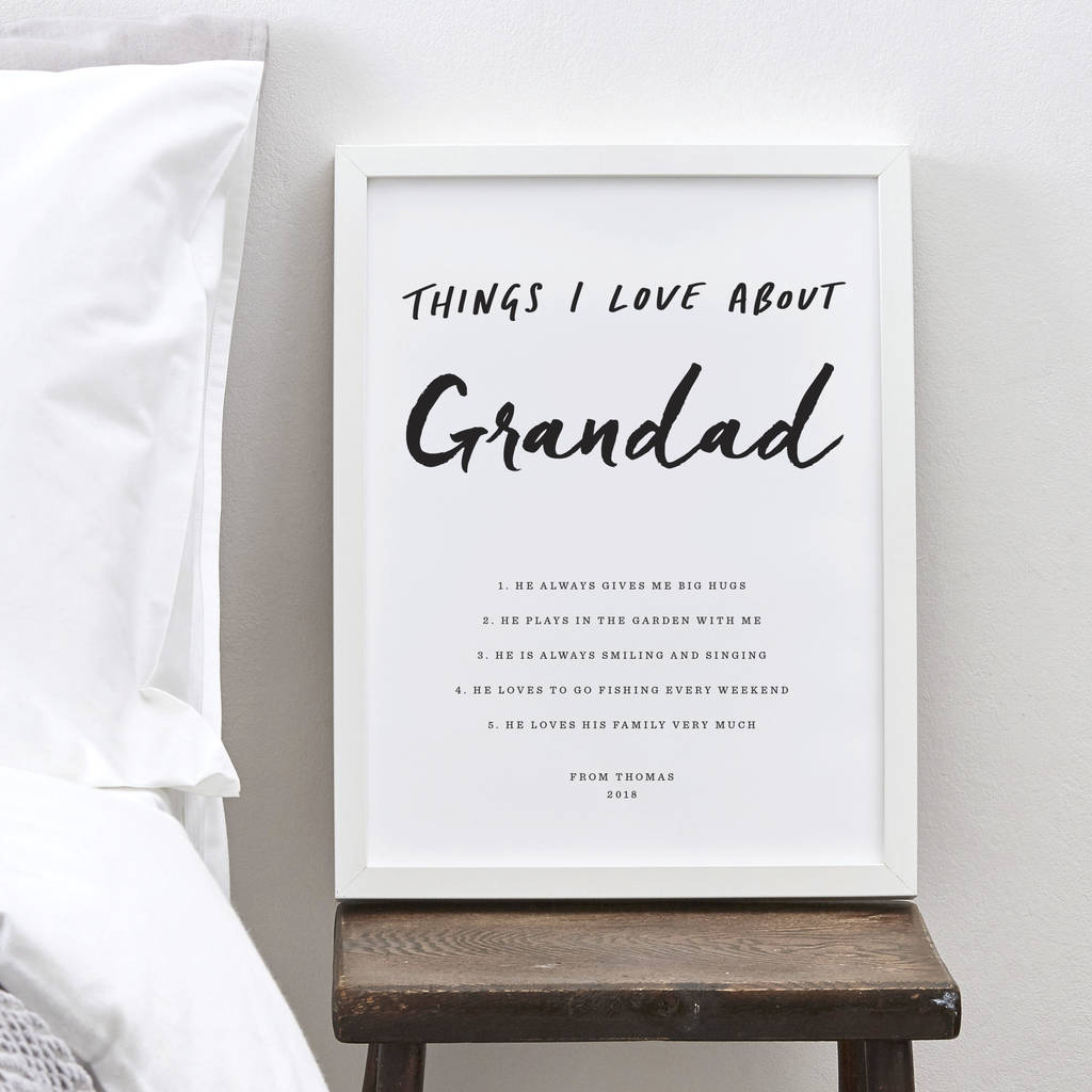Personalised 'Things I Love About Grandad' Print - Not On The Highstreet