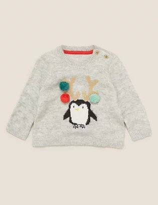 M&S Knitted Penguin Christmas Jumper