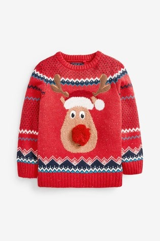 Next Red Rudolph Christmas Jumper