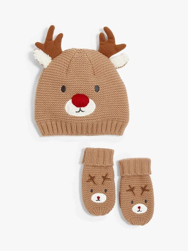 Children's Reindeer Hat And Mittens Set - John Lewis