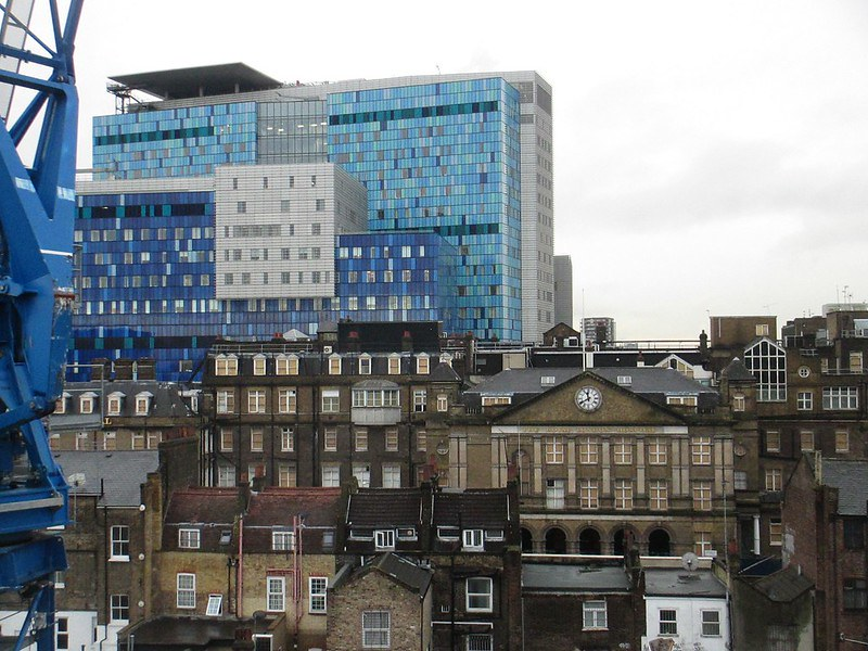 A view of the Royal London Hospital Museum over the buildings of Whitechapel.