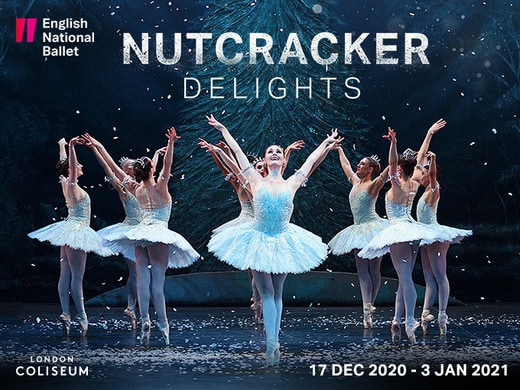 Ballerinas dancing in the promotional poster of the Nutcracker Delights.
