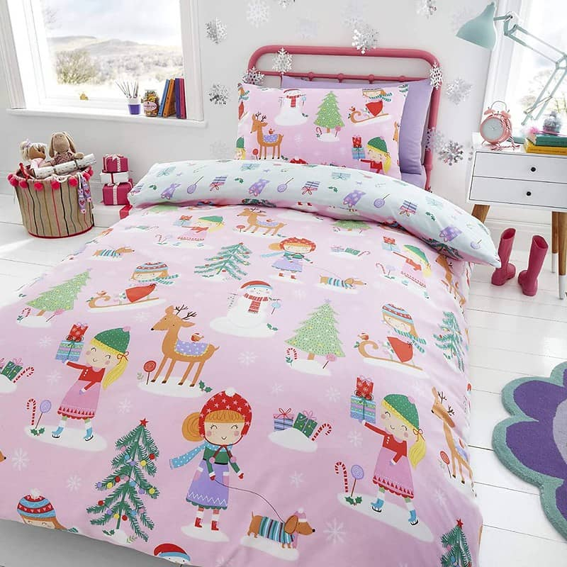 Children's Pink Christmas Bedding - Happy Linen Company