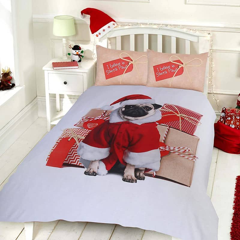 Sleepdown Christmas Pug Duvet Cover & Pillowcase Set