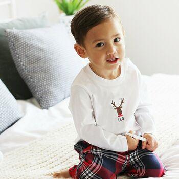 Jack Spratt Personalised Embroidered Rudolf Pyjamas.