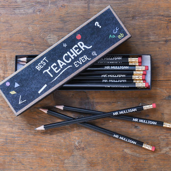 Best Teacher Ever Pencils In Box - The Letteroom