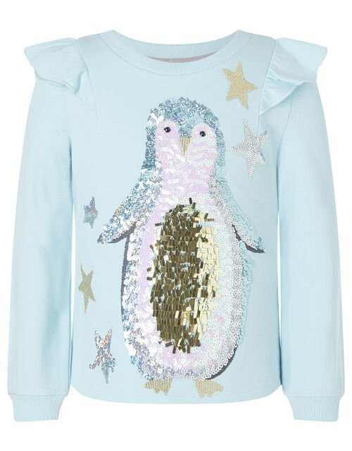 Monsoon Sequin Penguin Christmas Top In Blue Organic Cotton