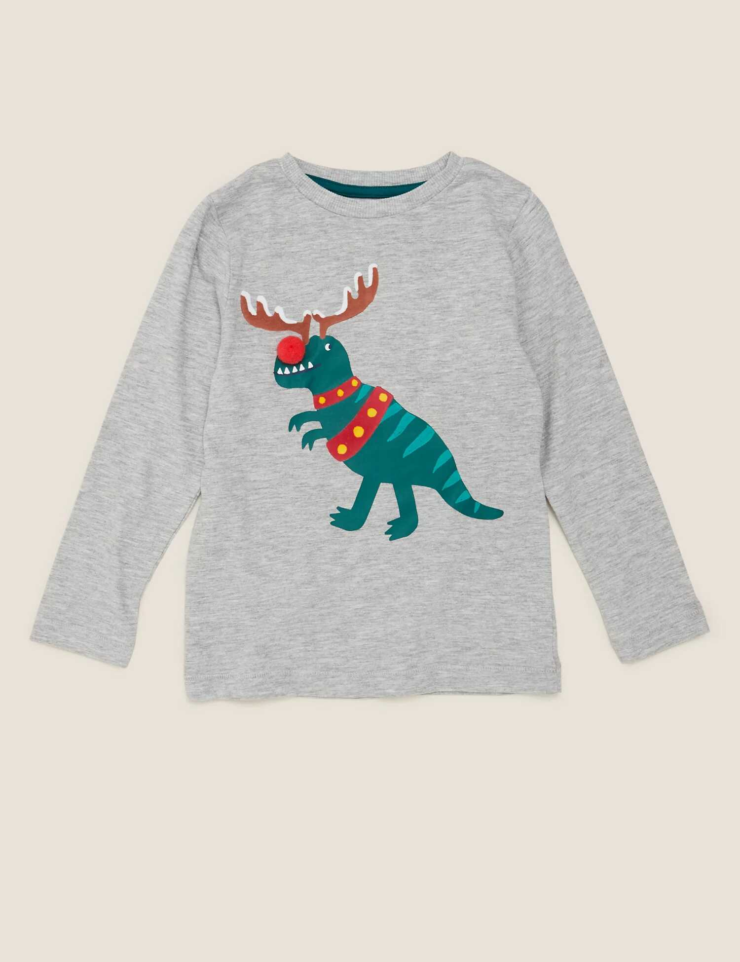 Marks And Spencer Cotton T Rex Christmas Top
