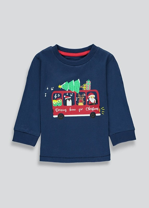 Matalan Boys Long Sleeve Christmas Bus T-Shirt