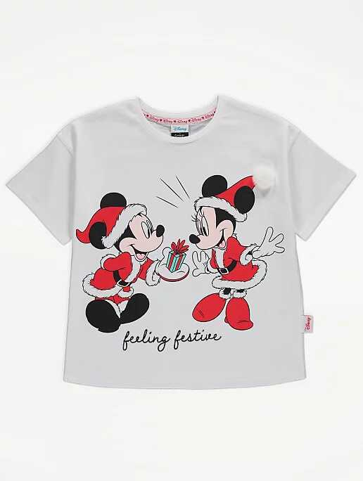 George At Asda Disney Mickey And Minnie Mouse Christmas T-Shirt
